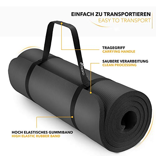 Transportable Tapis Gym Yoga confortable noir