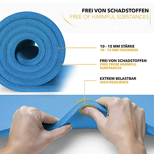 Tapis Gym Yoga confortable quality bleu