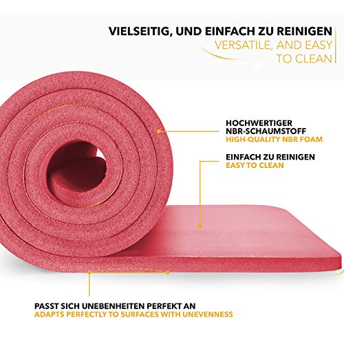 Tapis Gym Yoga confortable welness rouge