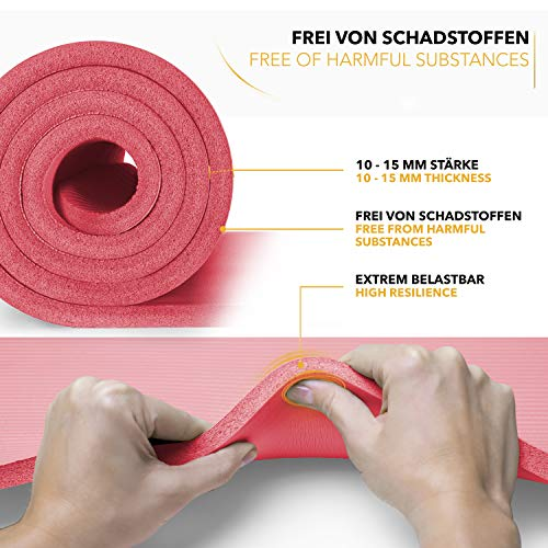 Tapis Gym Yoga confortable quality rouge