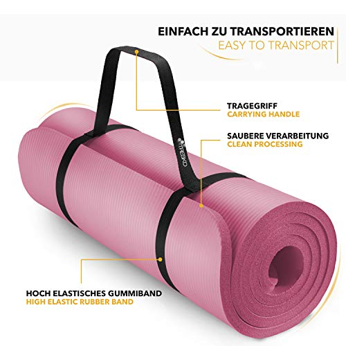 Tapis Gym Yoga confortable rose transport