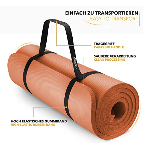 Tapis Gym Yoga confortable orange transport