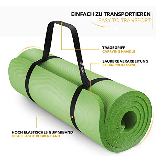 Tapis Gym Yoga confortable vert transport